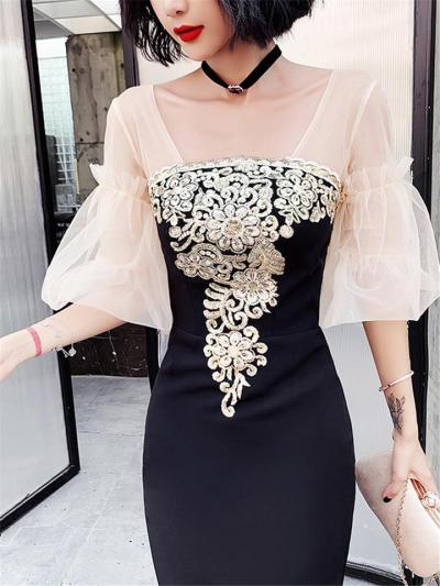 Pretty Sequined Fitted Waist Trumpet Dress for Formal Party