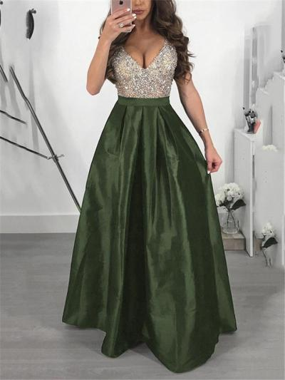 Flattering V Neck Fitted Waist Maxi A Line Dress for Formal Party