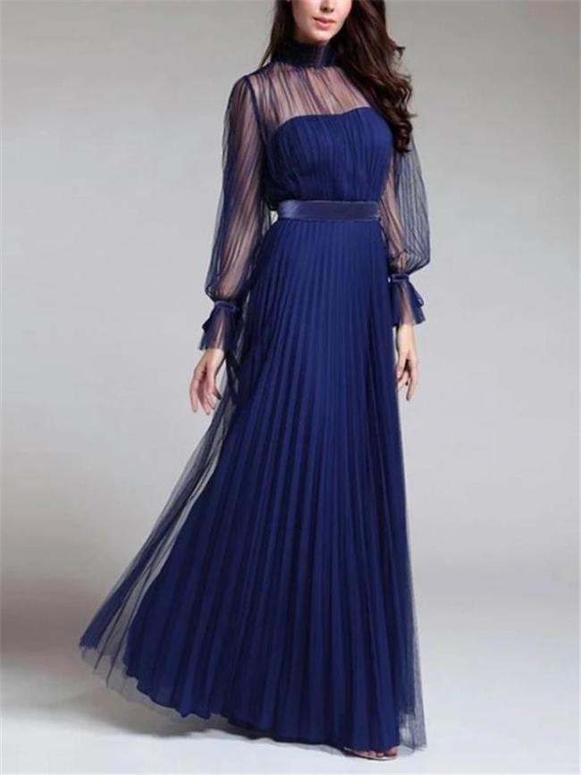 Flattering Tulle Bodice Fitted Waist Pleated Flare Dress for Prom