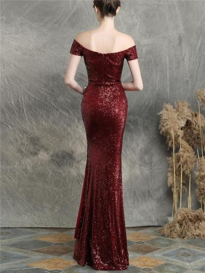 Gorgeous Sequined Off Shoulder High Slit Dress for Evening Party