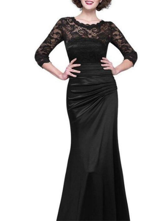 Elegant Floral Lace Bodice Fitted Waist Pleated Design Dress for Prom