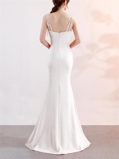Gorgeous Spaghetti Strap Side Slit Trumpet Dress for Evening