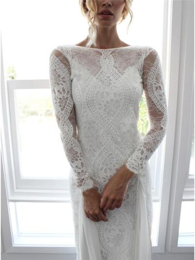 Flattering Floral Lace Backless Sweep Train Dress for Wedding