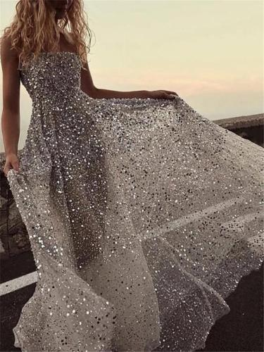 Shimmering Sequined Off Shoulder A-Lined Dress for Prom