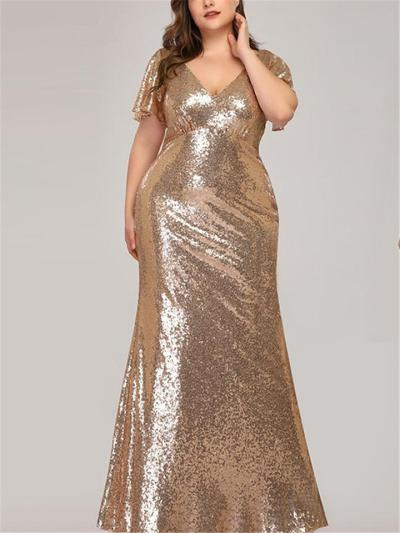 Exquisite Sequined V Neck Short Sleeve Mermaid Dress for Evening Party