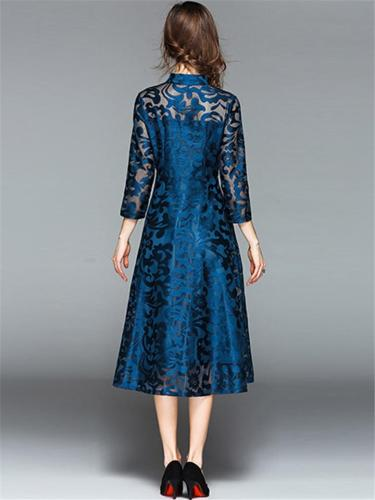 Vintage Style Floral Embroidery Long Sleeve Dress for Evening