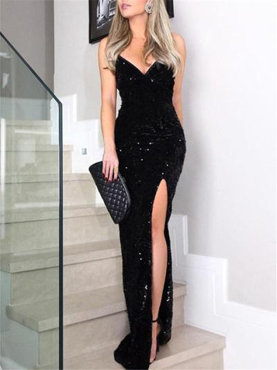 Shimmering Sequined V Neck Side Slit Strappy Dress for Prom