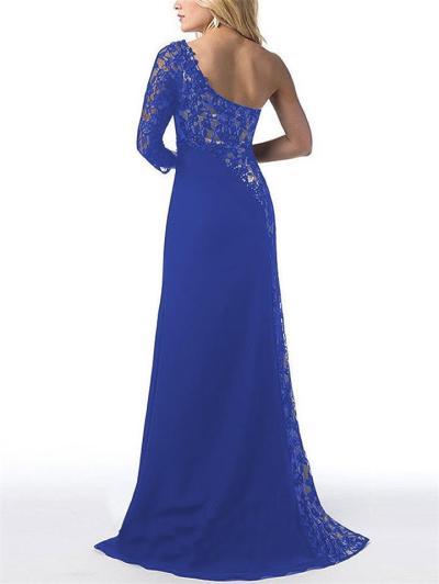 Elegant One Shoulder Thigh High Slit Lace Dress for Prom