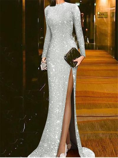 Gorgeous Backless Thigh High Slit Fitted Waist Dress for Prom