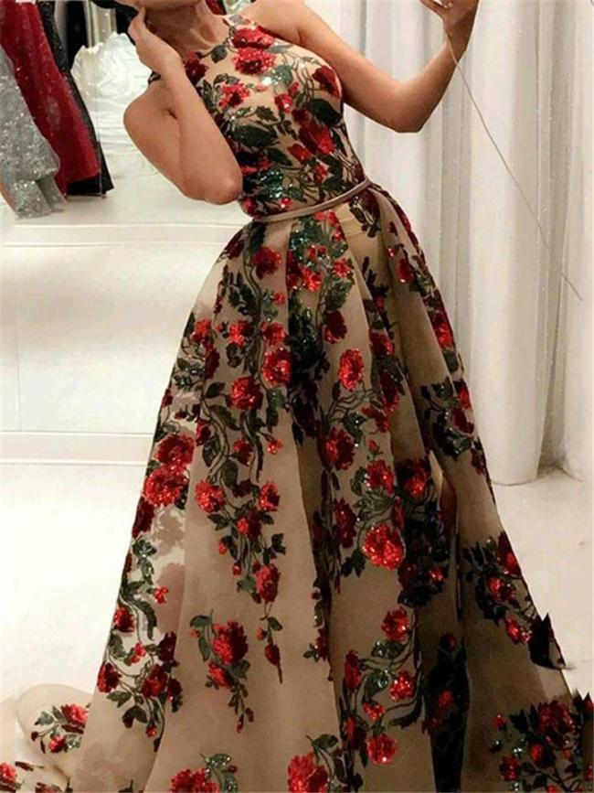 Stunning Sequined Floral Printed Fitted Waist Sleeveless Dress for Evening