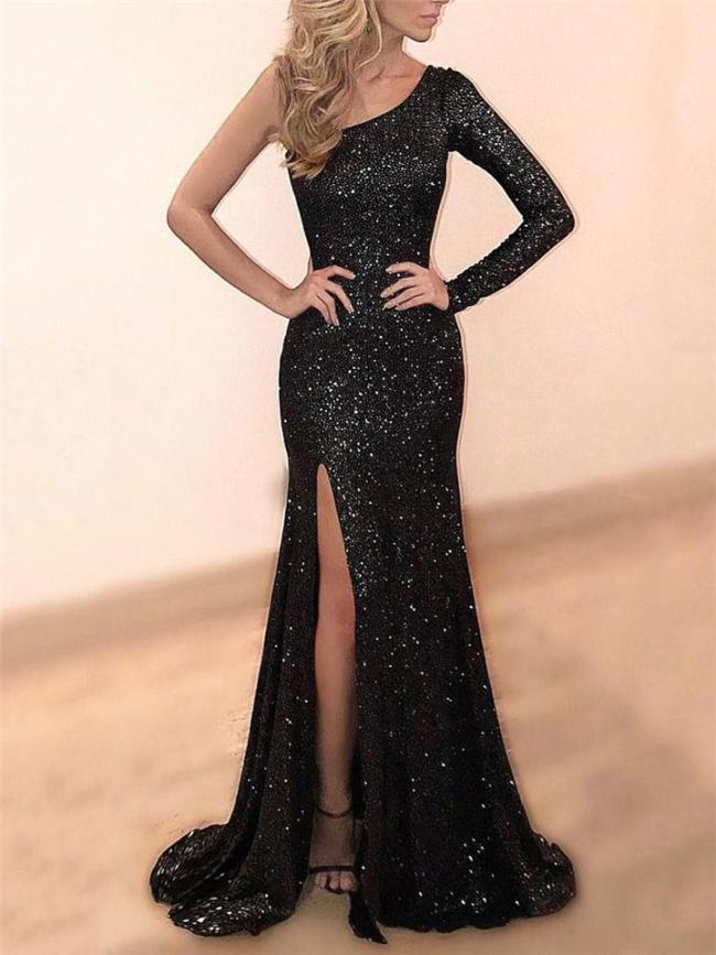Exquisite One Shoulder Thigh High Slit Maxi Dress for Prom