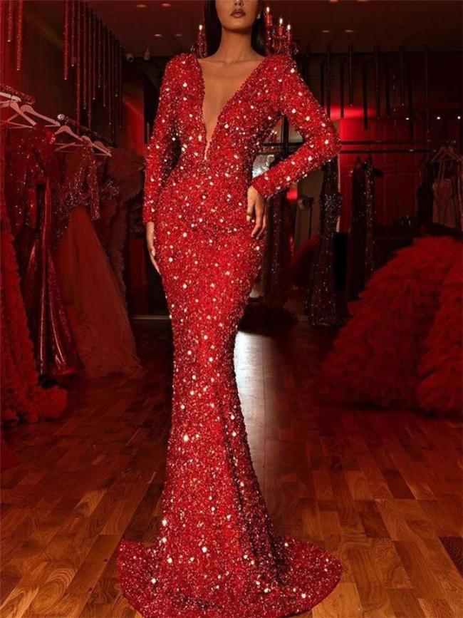 Stunning Low V Neck Sequined Long Sleeve Mermaid Dress for Prom