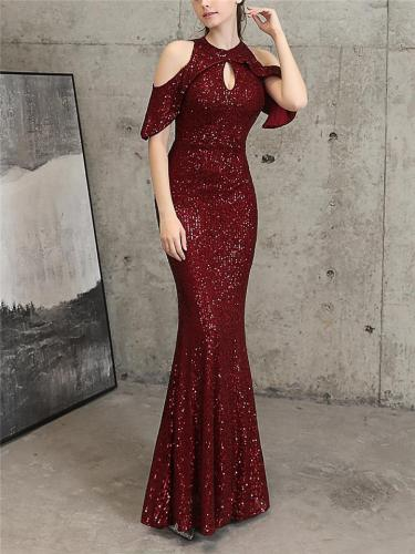Flattering Off Shoulder Sequined Cap Sleeve Mermaid Dress for Formal Party