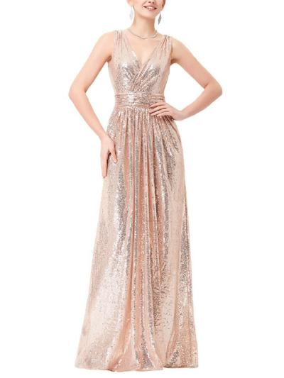 Glamorous V Neck Fitted Waist Sleeveless Maxi Dress for Prom