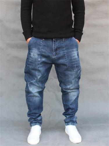 Mens Hip Hop Baggy Street Ankle Jeans