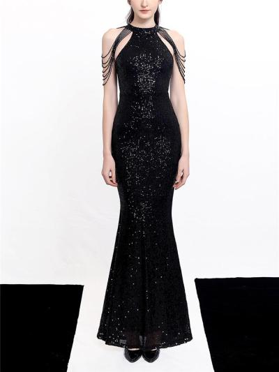 Shiny Sequined Halter Neck Mermaid Dress for Evening Party