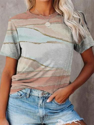 Casual-Cut On-Trendy Graphic Print Short Sleeve Crew Neck T-Shirt