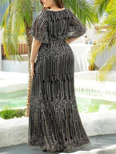 Stunning Shiny Deep V Neck Fishtail Evening Dress with Flutter Sleeves