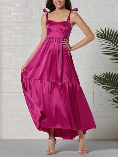 Fashion Purple Satin Bow Spaghetti Straps Sleeveless Plain Maxi Dress