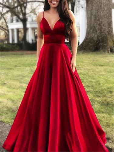 Sexy Pretty Spaghetti Strap Fitted Waist Flare Dress for Prom