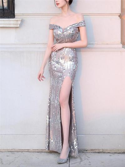 Stunning Sequined Backless Thigh High Slit Dress for Evening