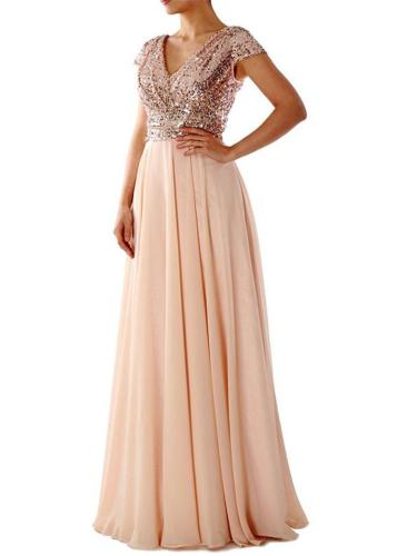 Decent Wrap Neck Fitted Waist Sequined Maxi Dress for Evening Party