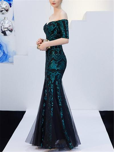 Gorgeous Off Shoulder Sequined Mermaid Dress for Evening Party