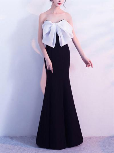 Stunning Bow Off-Shoulder Trumpet Sweep Train Strapless Maxi Dress for Prom
