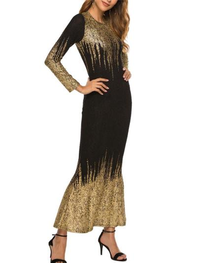 Gorgeous Scoop Neck Trumpet Maxi Dress for Formal Party