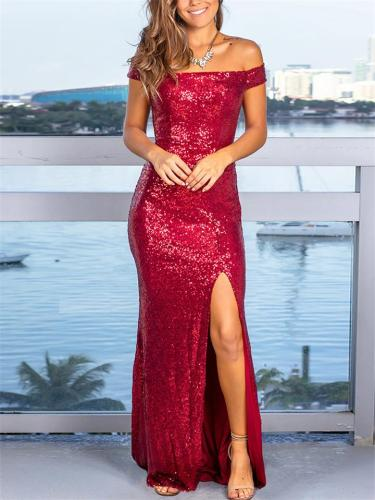 Shiny Sequined Off Shoulder Side Slit Bodycon Mermaid Maxi Dress for Evening Party
