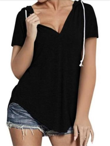 Laid-Back V Neck Asymmetric Hem Short Sleeve Drawstring Hooded Tops