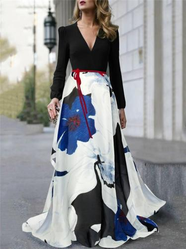 Gorgeous V Neck Long Sleeve Floral Printed Maxi Dress for Prom