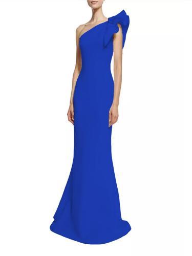 Stunning One Shoulder Ruffle Design Mermaid Maxi Dress for Prom