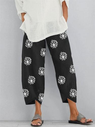 Casual Relaxed Fit Elastic Waist Dandelion Print Asymmetric Hem Cropped Pants