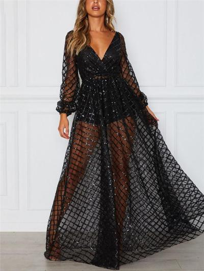 Shimmering Wrap Neck Plaid Long Sleeve Semi Sheer Dress for Prom