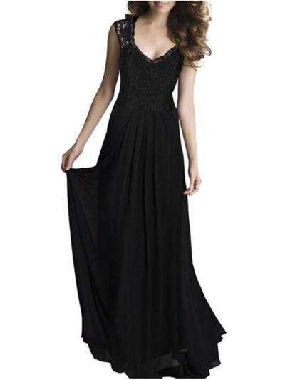 Pretty Embroidery Fitted Waist Maxi Dress for Evening Party