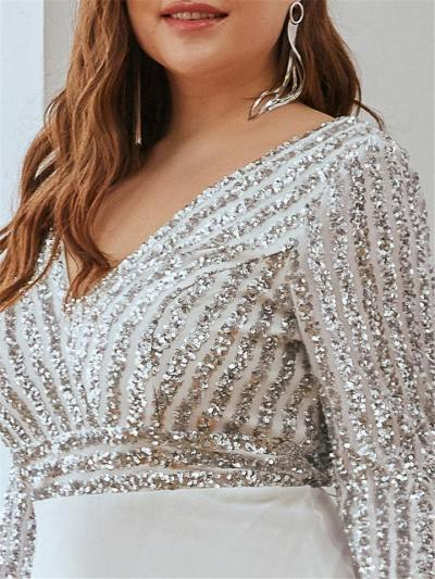 Stunning Plus Size V Neck Sequined Maxi Dress for Party