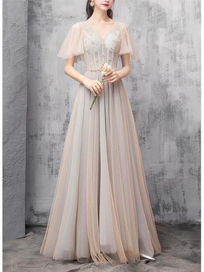 Elegant Off Shoulder Bell Sleeve Fitted Waist Dress for Prom