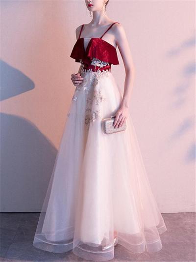 Dreamy Fairytale Applique Spaghetti Strap Mesh Gown for Prom