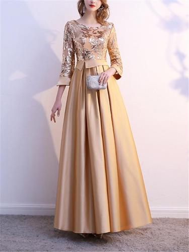 Elegant 3/4 Sleeve Pleated A-Line Maxi Dress for Evening