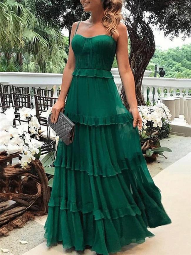 Pretty Spaghetti Strap Sweetheart Neckline Layered Dress for Prom