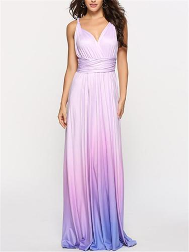 Gorgeous Wrap Neck Gradient Cross Back Maxi Dress for Prom