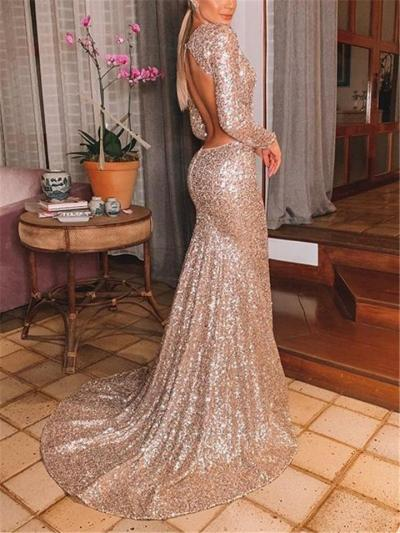 Gorgeous Sequined V Neck Backless Sweep Train Gown for Evening Party