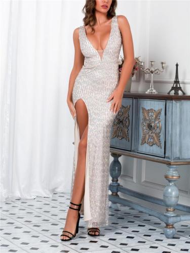Sexy V Neck Thigh High Slit Maxi Dress for Prom