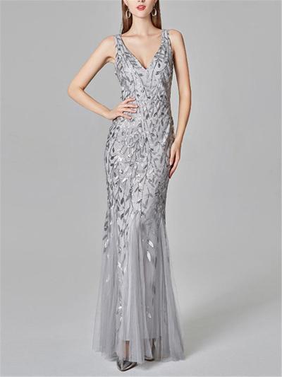 Flattering V-Neck Seuqined Mermaid Maxi Dress for Evening Party