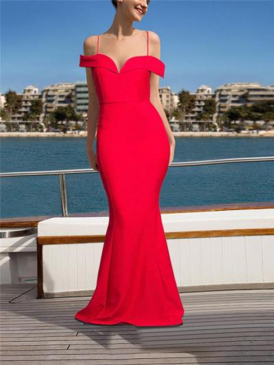 Stunning Cap Sleeve Off Shoulder Mermaid Dress for Evening Party