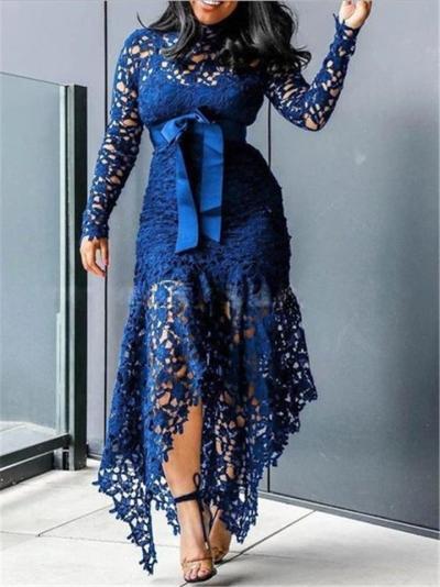 Stunning Waist Tie Lace Design Asymmetric Hem Dress for Prom