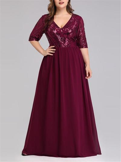 Elegant Plus Size Half Sleeve V Neck Dress for Evening Party