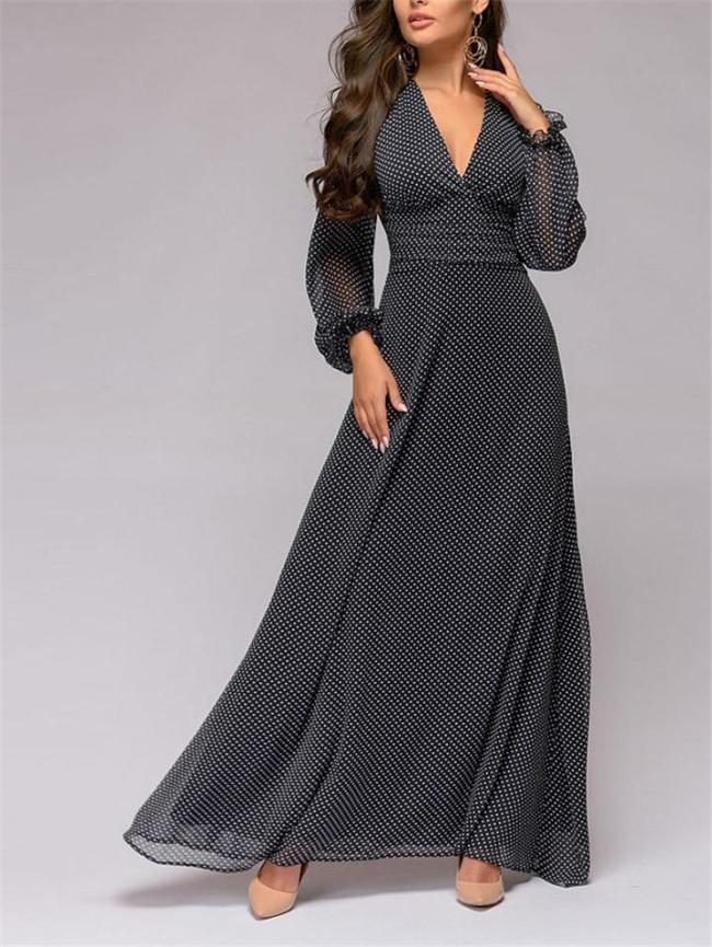 Vintage Style V Neck Polka Dot Chiffon Maxi Dress for Party