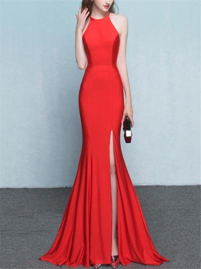 Elegant Halter Neck Trumpet Thigh High Slit Dress for Evening Party